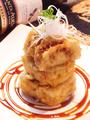 料理メニュー写真レンコンの鶏つくねサンド揚げ