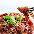 料理メニュー写真牛肉の薄切りの山椒辛子煮/牛肉とピーマンの細切り炒め