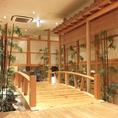 【5】情緒溢れる和空間。千の庭では、ゆっくりとお寛ぎ頂ける空間をご用意。日本庭園をイメージした店内は、他店にはない魅力的な空間。各種ご宴会はもちろん、接待などの利用にも。