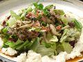 料理メニュー写真ベーコンときのこの豆腐サラダ
