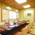 4名様から12名様まで可能の掘り炬燵式完全個室です。お祝い等特別な日の会食やソーシャルディスタンス会食におすすめのお席です。