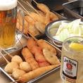 大阪を誇るB級グルメを楽しんで!「二度付け禁止!」は大阪の常識。美味しい串カツを皆さんに味わっていただきたくて、揚げたてをご用意いたします。飲み会、宴会に食べ放題コースがおすすめ!飲み放題コースもついて3480円!大人気です!