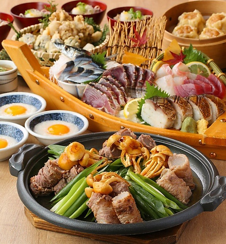 鰹のタタキ・秋刀魚姿造・鮮魚の大漁盛と牛巻き大根のすき焼きを堪能(2H飲放付)4000円税込