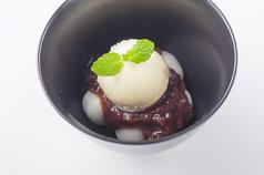 白玉小豆とバニラアイス