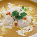 料理メニュー写真ホタテ貝のピリ辛淡雪 南瓜スープと共に