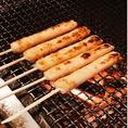1階厨房内には、炭火台があります。炭火でこんがり香ばしく肉、魚、竹輪、野菜焼いています。