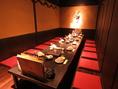 8~16名様までの掘りごたつ個室、様々なシーンのご宴会に多い中人数グループ様用の個室は3つご用意。