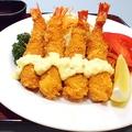 料理メニュー写真ぷりぷり海老フライ定食 (御飯、味噌汁、香の物付き)