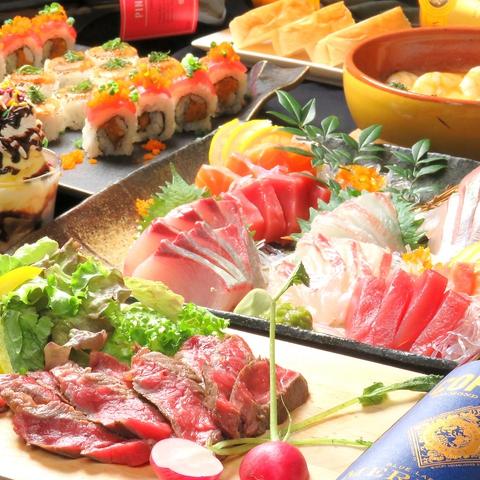2時間30分の飲み放題付き♪ 創作巻き寿司を含むコース3200円~★