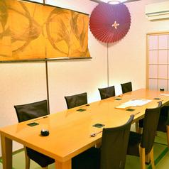 接待や宴会などに適した個室。落ち着いた雰囲気を愉しみたいお客様から、ご家族でのプライベートな空間で盛り上がりたいお客様まで、どちらにも適したお部屋です。ご予約・貸し切りのお問い合わせはお気軽に当店まで。