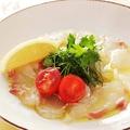 料理メニュー写真本日のカルパッチョ リグ―リア産ヴァージンオリーブオイルとレモン