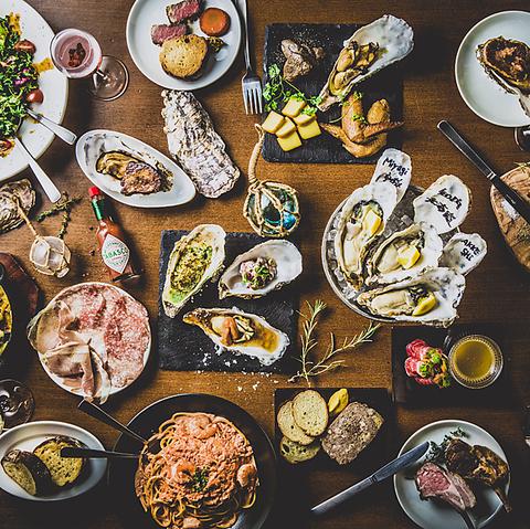 各地の新鮮牡蠣とウニ、肉と豊富なワインが楽しめる店♪