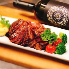 赤身肉のステーキ(200g)ポルト酒とグリーンペッパーのソース