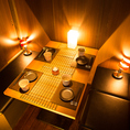 間接照明からテーブルセッティングの小物にもこだわった雰囲気抜群の完全個室。