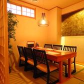 ~6名様までご利用可能なテーブル席。(連結可能)モダンでゆとりのある和空間が広がり、落ち着いた雰囲気の中でお食事を味わうことができます。【プライベート宴会、女子会、デートでのご利用に◎】