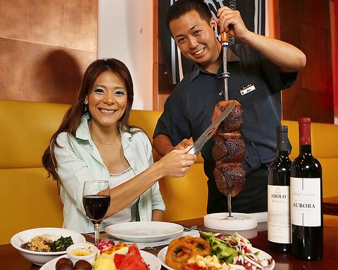 美味しいジューシーなお肉が食べ放題!日本最大級のシュラスコ専門店♪