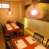 ~4名様までご利用可能なテーブル席。(連結可能)モダンでゆとりのある和空間が広がり、落ち着いた雰囲気の中でお食事を味わうことができます。【プライベート宴会、女子会、デートでのご利用に◎】