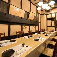 接待向けの個室多数。和モダンなテーブル席や掘りごたつ