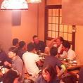 サークル飲み会など中人数利用にピッタリの座敷席。足元ラクラクの座敷席で寛ぎながら食事をお愉しみ頂けます。