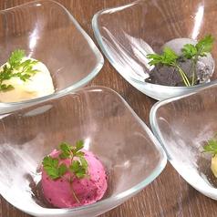 柚子アイス/黒ごまアイス/赤ぶどうソルベ/バニラアイス
