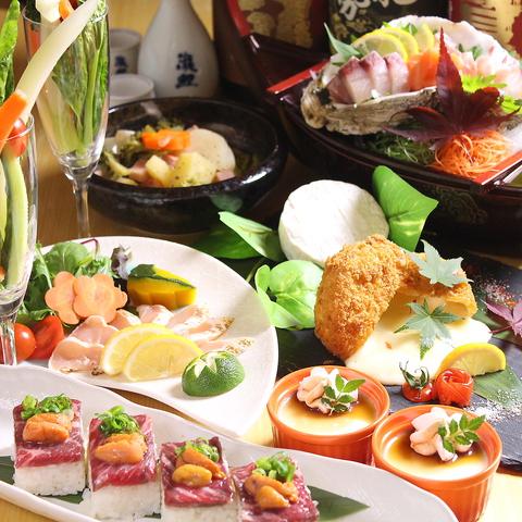【女子会コース 鍋なし】刺し盛/和風ポトフ/カマンベールフライ/うにく押し寿司 2H飲放 4000円