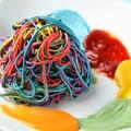 料理メニュー写真カラフルレインボーパスタ ペインター