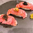 話題の肉寿司もご用意!中でも『世界の3貫握り』はお客様にも大好評頂いております!ぜひご賞味下さい!