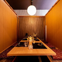 落ち着きのある「和」の完全個室空間で特別なひと時を