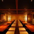 大広間風の部屋は個室最大60名様まで収容