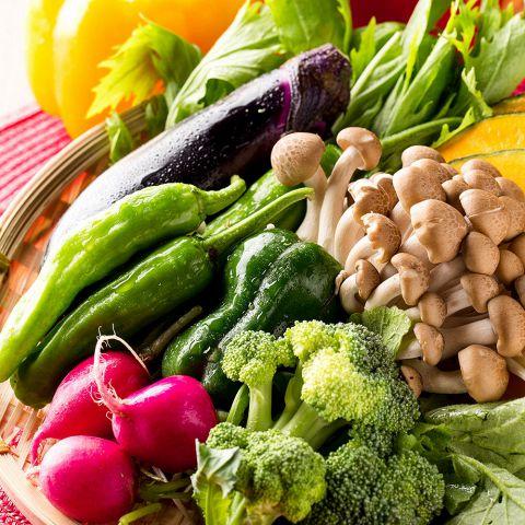 毎日仕入れる野菜は新鮮で甘く、当店の料理との相性抜群!もちろん食感も存分に愉しむことができます。旬の創作和食を愉しむ3時間飲み放題付コースは2980円~!当店自慢の厳選野菜も存分にご堪能頂けます。素材本来の旨味をお愉しみください。