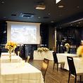 大型スクリーンプロジェクター完備♪会社関係宴会や歓送迎会、決起会に最適♪~貸切 パーティー 銀座シャンクレール パノラマラウンジ~