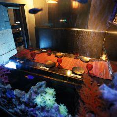 深海の底に降りたような横浜アクア個室居酒屋