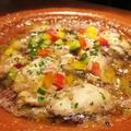料理メニュー写真大粒牡蠣と香味野菜のアヒージョ