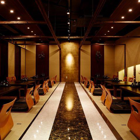 最大収容人数60名様まで可能の大規模完全個室。クロークもご用意。また掘りごたつなので大人数でもゆったりとお食事をしていただけます。江坂での大規模居酒屋宴会には是非ご利用ください。