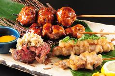 串焼き盛合せ5種(ジャンボもも・なんこつ・ぼんじり・レバテキ・ジャンボつくね)