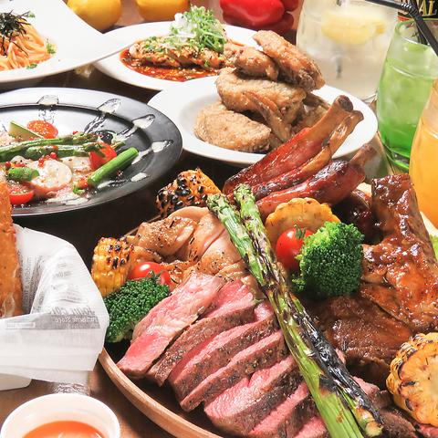 豪快肉畑+料理全50品★120分食べ飲み放題プラン4500円→クーポン利用で4000円!