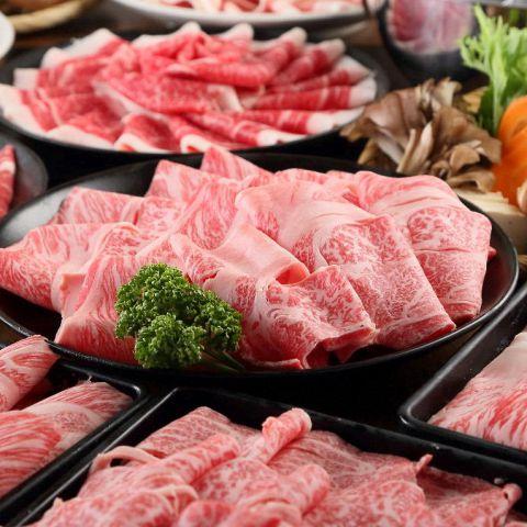 【食べ放題】黒毛和牛しゃぶしゃぶorすき焼きコース5280円(税別)