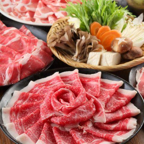 【食べ放題】国産牛しゃぶしゃぶorすき焼きコース3980円(税別)