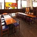 大型・中型宴会にも対応可能なテーブル席。お席のレイアウト変更等もご相談ください。
