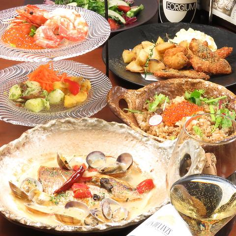 【豪華海鮮◎Zi-coオリジナルコース】魚介といくらの釜飯等(全5品)2h飲放付 4000円(税込)