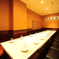 半個室空間で、宴会に最適、人数に合わせて仕切れます。