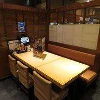 堀ごたつ席、テーブル席等様々な空間を完備。