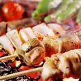 【焼き鳥・串焼き】宮崎県産霧島鶏の串焼きが人気です☆国産備長炭で焼き上げる霧島鶏は身がぷりぷりで食べごたえあります!!