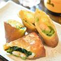 料理メニュー写真若鶏の唐揚げ/ぷりぷりエビのクリーミー春巻/みょうがの天ぷら/アーサ天ぷら(4個)