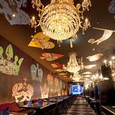 壁や天井のペイントにシャンデリアが可愛い不思議な空間はガールズトークも盛り上がっちゃうかも!魔法の鏡のドレスルーム