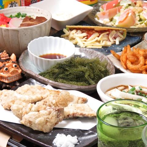 新鮮な食材を使った沖縄創作料理が食べられるのはココ!!くつろげるお座敷席です♪