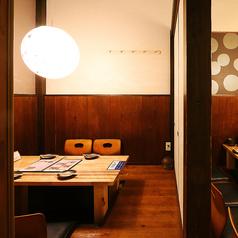 4名様までご利用可能な個室席。周りが気にならないプライベート空間は、ついつい話に花が咲く女子会にもオススメです♪