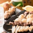 串焼き・串揚げ・刺身等、新鮮食材の居酒屋メニューをご堪能下さい◎