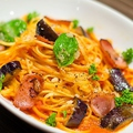料理メニュー写真ベーコンとナスのトマトソース《Becon & eggplant tomato sauce》