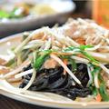 料理メニュー写真イカスミ麺の塩焼きそば